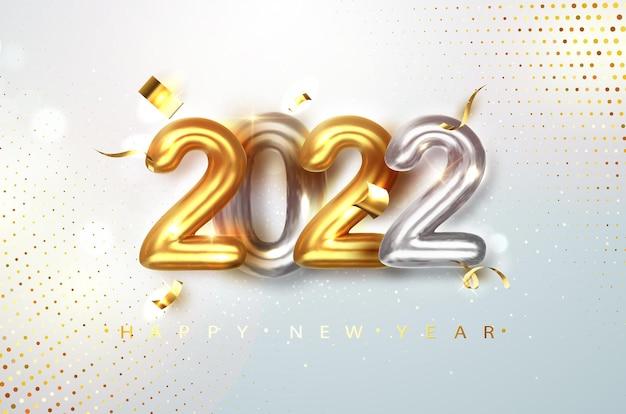 2022 gouden en zilveren realistische cijfers op lichte feestelijke glitterachtergrond