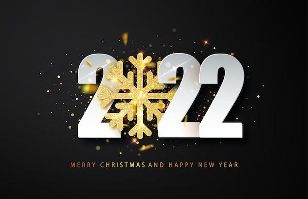 2022 happy new year begroeting achtergrond met gouden glitter sneeuwvlok en witte cijfers op zwarte achtergrond. vector kerst illustratie