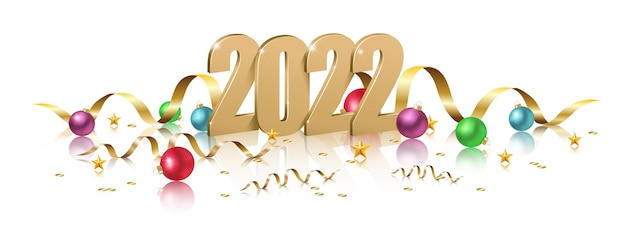 2022 happy new year ontwerp illustratie van 3d-gouden 2022 logo nummers met kerstballen ny c