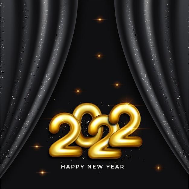 2022 happy new year wenskaart in goud en zwarte kleur