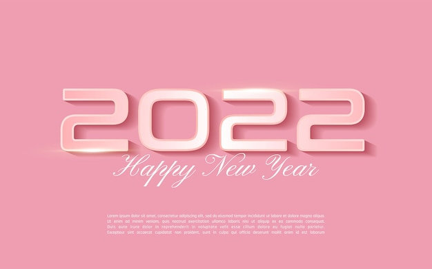 2022 happy new year wenskaart in zacht roze kleur - 2022 belettering op roze achtergrond - illustrator vector