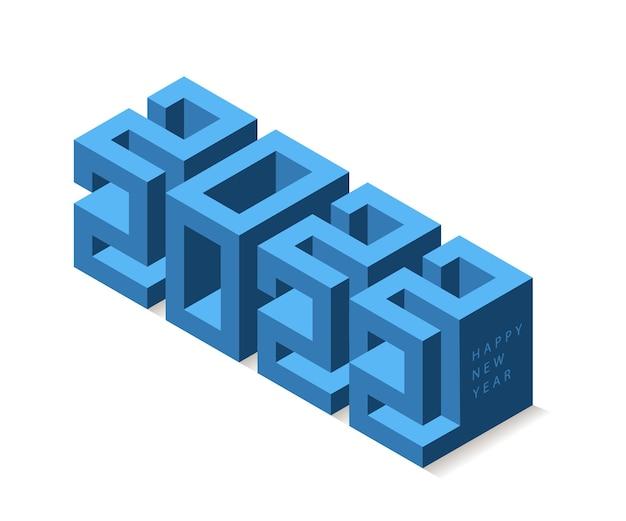 2022 jaar 3d-ontwerp in moderne isometrische stijl. vector belettering voor wenskaart of poster.