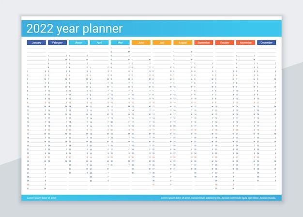 2022 jaar kalenderplanner. bureau kalender sjabloon. jaarlijkse dagelijkse organisator. agenda dagboek.