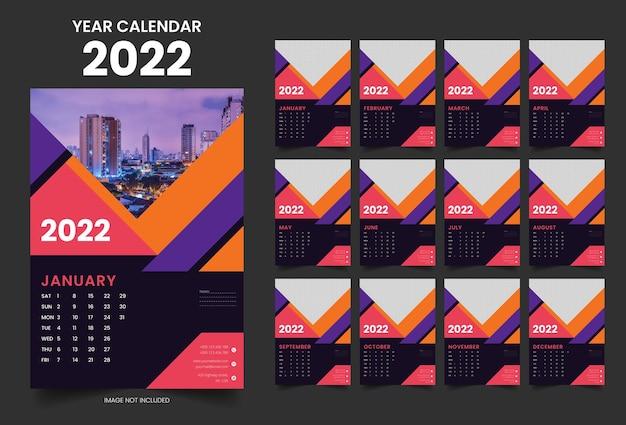 2022 jaar muur moderne kleurrijke kalender jaarlijkse planner ontwerpsjabloon