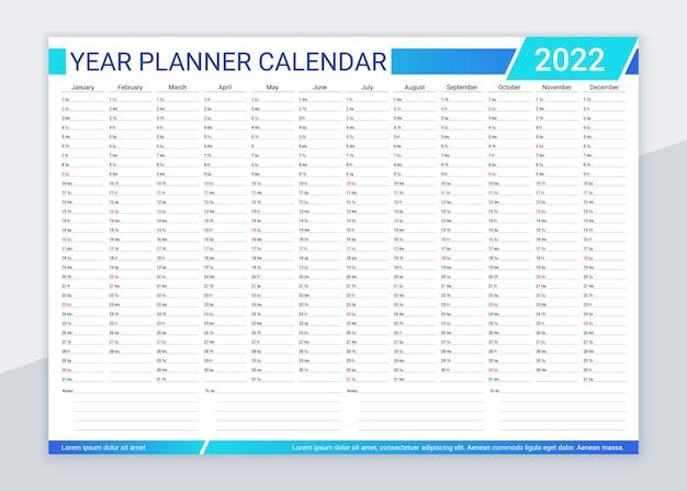 2022 jaarplanner kalender. bureau organisator kalender. vector illustratie.