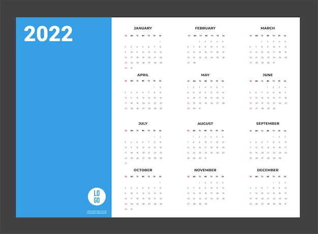 2022 kalender - illustratie. sjabloon. de mock-upweek begint zondag
