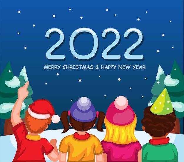 2022 kerst- en nieuwjaarsviering met kinderen van achteraanzicht cartoon illustratie vector