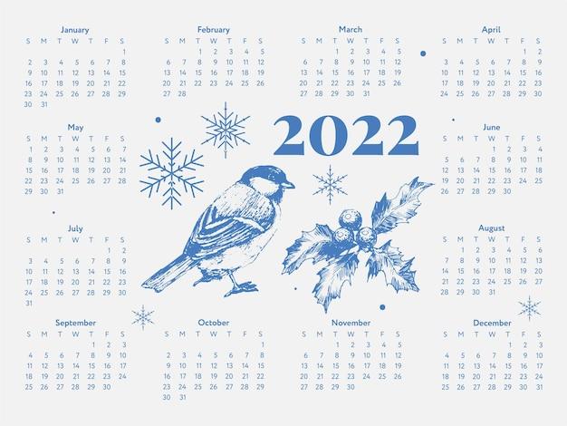 2022 kerstboom nieuwjaar sketch calendar week begint op zondag.