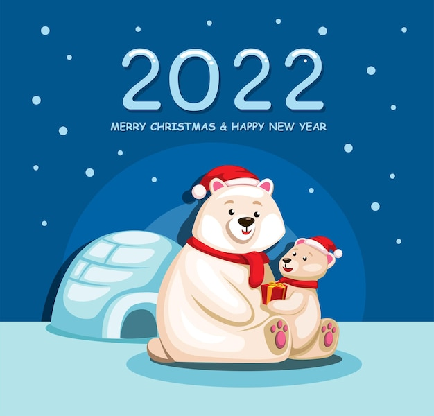2022 kerstmis en gelukkig nieuwjaar feest met ijsbeer familie cartoon illustratie vector