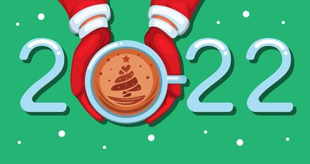 2022 koffie late kunst kerstmis en nieuwjaarsgroet met boomsymbool cartoon illustratie vector
