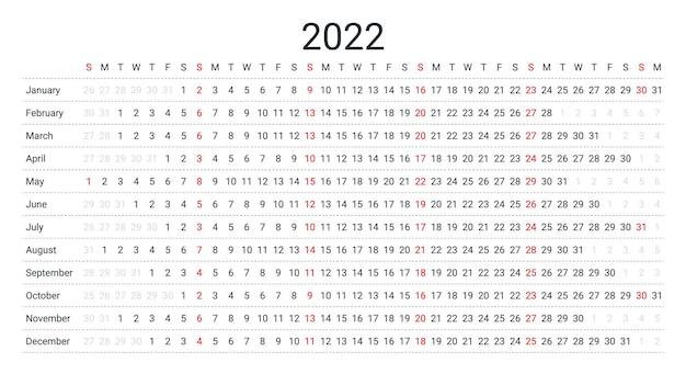 2022 lineaire kalender. jaarlijkse planner sjabloon. vector illustratie.