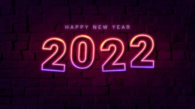2022 neon desktop wallpaper, hoge resolutie nieuwjaar hd achtergrond vector