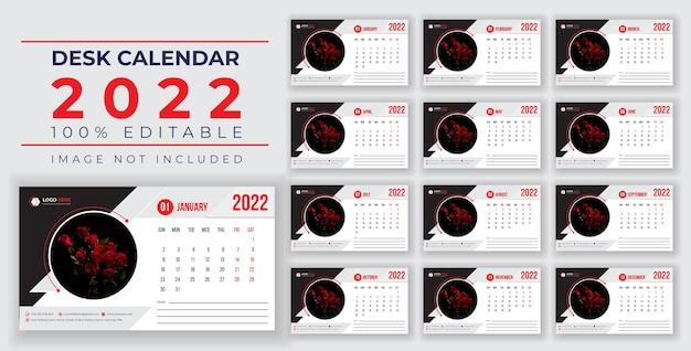 2022 nieuw bureau- en wandkalenderontwerp met creatieve en dynamische vormen voor drukklaar ontwerp
