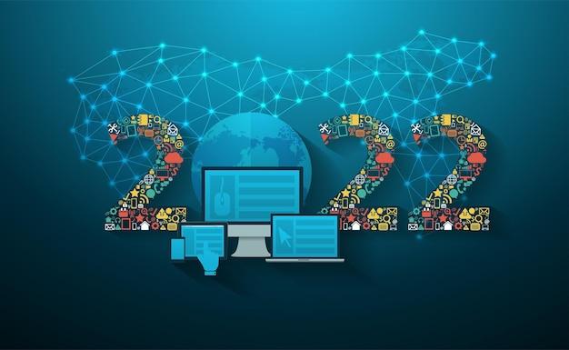2022 nieuwjaar business innovatie technologie set toepassingspictogrammen digitale marketing ideeën concept, vector illustratie moderne ontwerpsjabloon lay-out