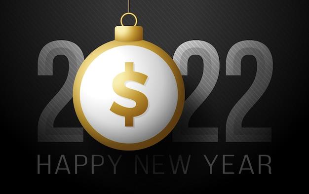 2022 nieuwjaar dollar snuisterij. geld gelukkig nieuw 2022 jaar dollarteken. vector illustratie