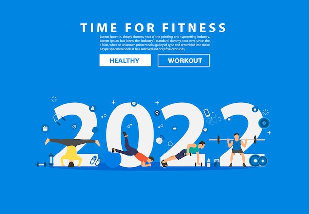 2022 nieuwjaar fitness ideeën concept man training fitnessapparatuur met platte grote letters. vector illustratie moderne lay-out sjabloonontwerp
