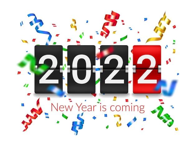 2022 nieuwjaar flip countdown teller bord met confetti explosie. nieuwjaar vakantie feest partij realistische vector achtergrond met vliegende confetti folie stukken en linten, flip klok timer