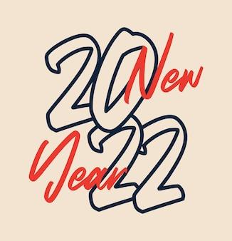 2022 nieuwjaar. vector kalligrafische 2022 tekst. kerstmis en gelukkig nieuwjaar conceptontwerp met kalligrafie penseel tekst op witte achtergrond. handgetekende letters