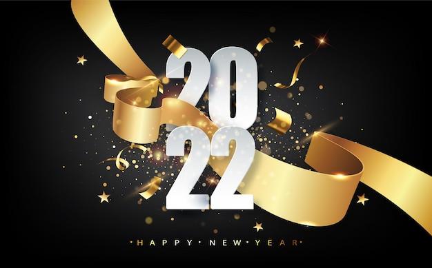 2022 nieuwjaar. wenskaart met datum en lint. nieuwjaars vakantie posters. gelukkig nieuwjaar donkere feestelijke achtergrond.