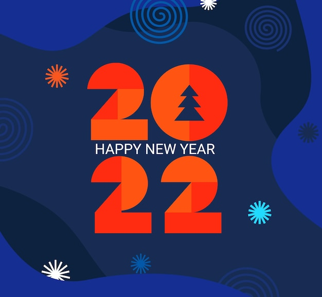 2022 nieuwjaar wenskaart met geometrische getallen op donker blauwe vloeistof achtergrond met vuurwerk, plaats voor tekst. sjabloon voor banner, uitnodiging, flyer, web. minimalistische trendy achtergrond voor dekking. vector