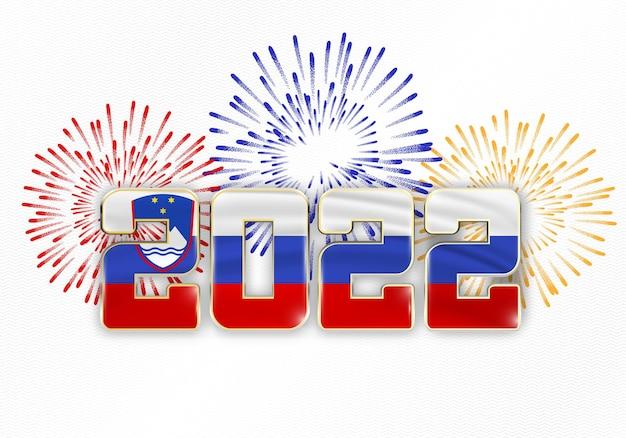 2022 nieuwjaarsachtergrond met nationale vlag slovenië van en vuurwerk