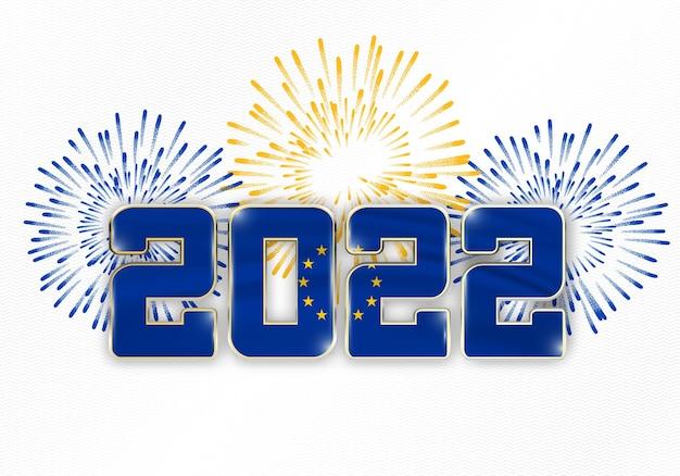 2022 nieuwjaarsachtergrond met nationale vlag van de europese unie en vuurwerk