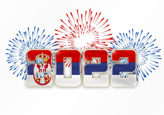 2022 nieuwjaarsachtergrond met nationale vlag van servië en vuurwerk