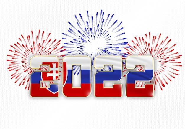 2022 nieuwjaarsachtergrond met nationale vlag van slowakije en vuurwerk
