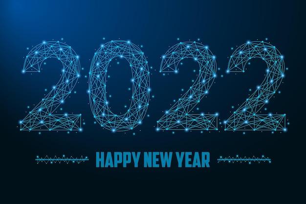 2022 nieuwjaarsillustratie gemaakt door punten en lijnen veelhoekig draadframe mesh