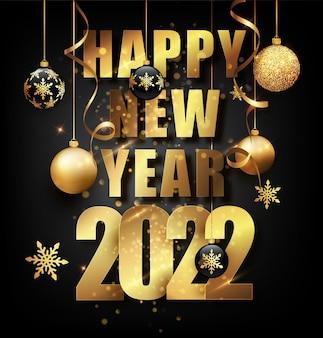 2022 nieuwjaarskaart met gouden kerstballen en gouden confetti. winter viering banner, poster met frame en decoratie. vector illustratie