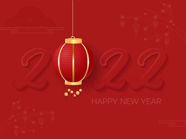 2022 nummer met chinese lantaarn hang op rode achtergrond voor gelukkig nieuwjaar viering.