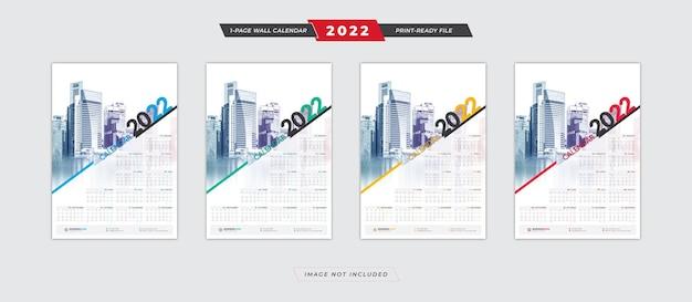 2022 posterkalendersjabloon met ontwerp met 4 kleurenvariaties