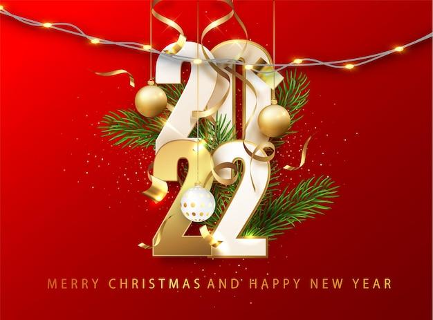 2022 rode kerstmis, nieuwjaar achtergrond. wenskaart of poster met gelukkig nieuwjaar 2022 met gouden glitter en glans. vectorillustratie voor web