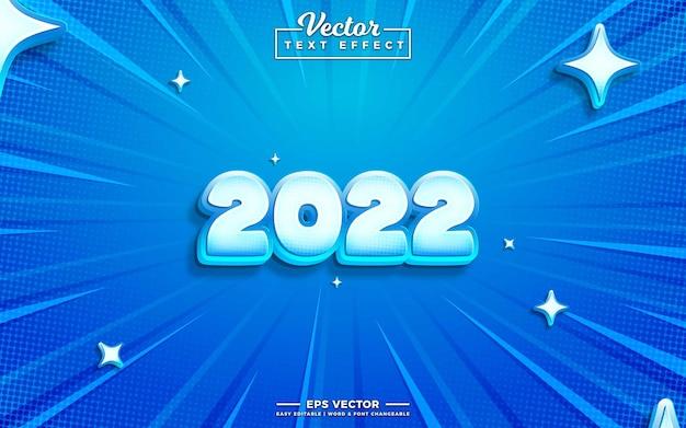 2022 vector 3d bewerkbaar teksteffect