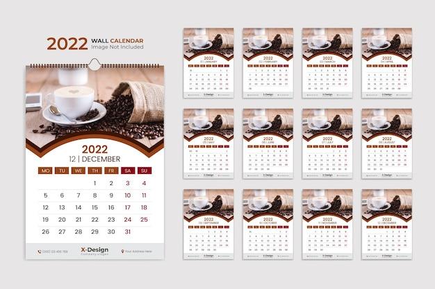 2022 wandkalender sjabloon jaarlijkse zakelijke planning planner evenementen kalender bureaukalender