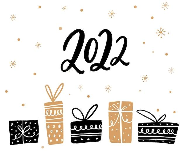 2022 wenskaart ontwerp. zwarte en gouden geschenkdozen, nieuwjaarsillustratie.