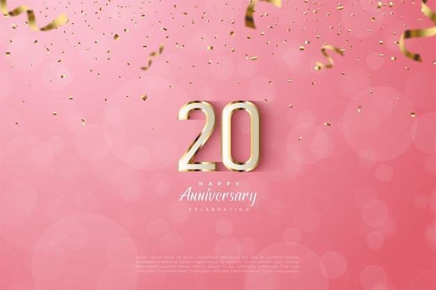 20e anivversary achtergrond met goud gestreepte nummers op roze achtergrond