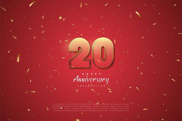 20e anivversary achtergrond met gouden gestreepte nummers