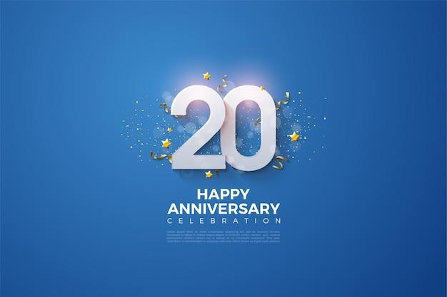 20e anivversary achtergrond met witte 3d-nummers en sterren op heldere blauwe achtergrond
