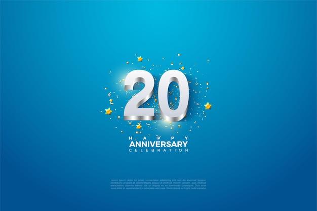 20e jaarlijkse helderblauwe achtergrond met 3d reliëf en gloeiende figuren