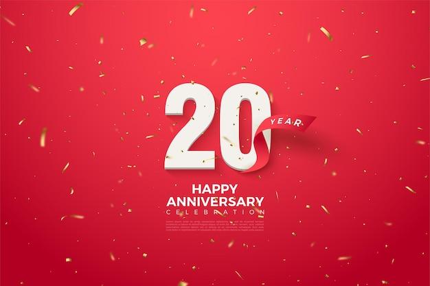 20e verjaardag achtergrond met gebogen rode cijfers en lint