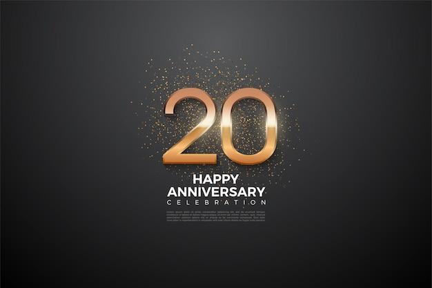 20e verjaardag achtergrond met gloeiende cijfers in het midden
