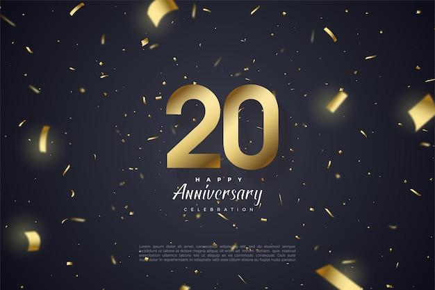 20e verjaardag achtergrond met gouden nummers op zwarte achtergrond bezaaid met goud papier