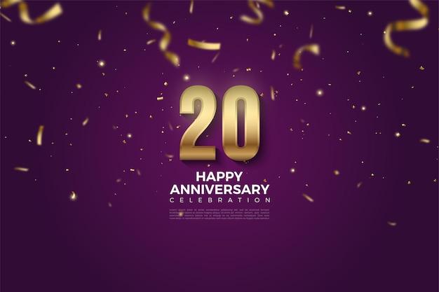 20e verjaardag achtergrond met vallende gouden figuren en papieren illustraties