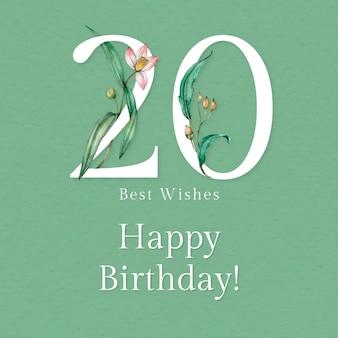 20e verjaardagswenssjabloon met illustratie van bloemennummer Gratis Vector