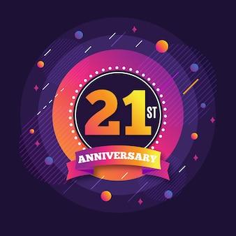 21 jubileum achtergrond met kleurovergang elementen