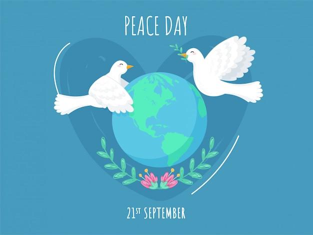 21 september peace day poster met earth globe, bloemen en vliegende duiven op blauwe achtergrond.