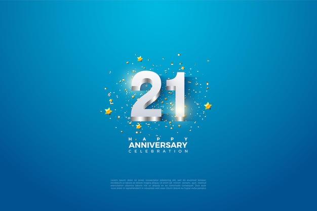 21e verjaardag achtergrond met cijfers die voortvloeien uit zilver.