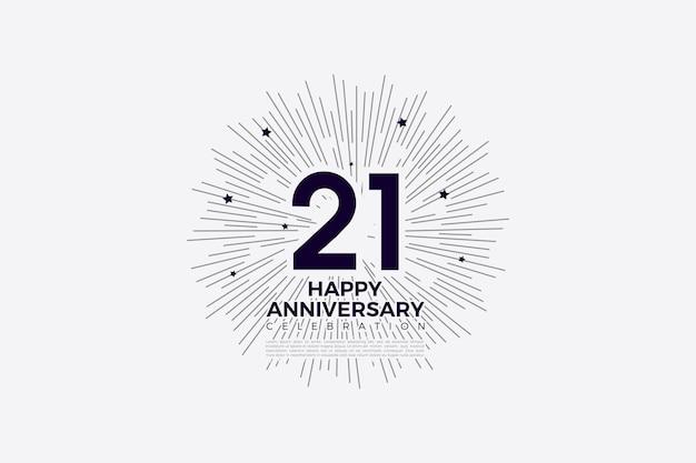21e verjaardag achtergrond met cijfers en lijnen op de achterkant die een cirkel vormen.