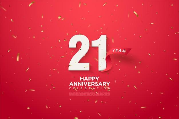 21e verjaardag achtergrond met cijfers en zilverfolie illustraties.